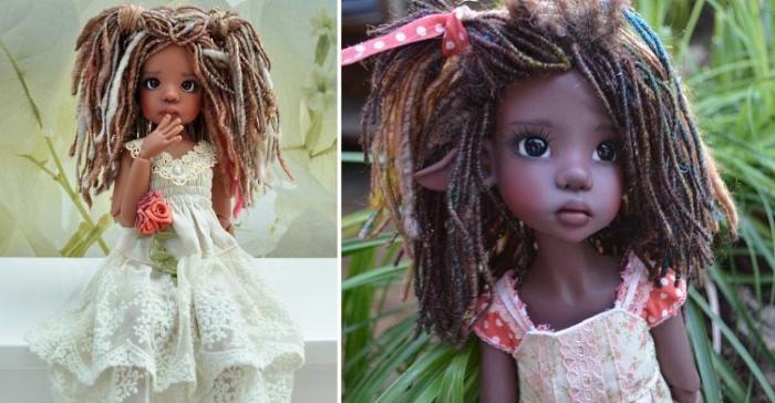 Волосы из шерстяных жгутов. Автор: Kaye Wiggs