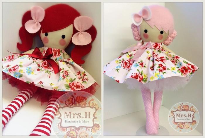 Куклы с прической из цветного фетра