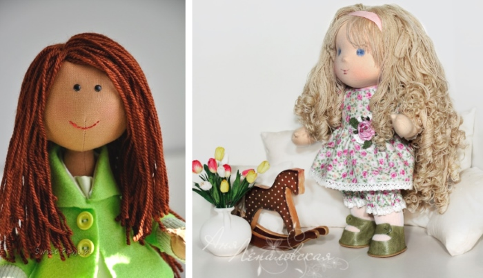 Как сделать длинные волосы для куклы из ниток