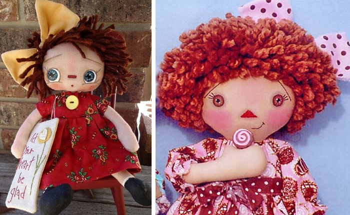 Как сделать прическу для куклы из толстой пряжи