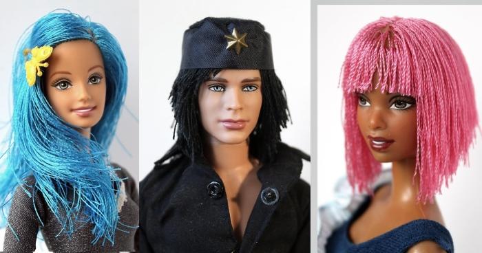 Волосы из нитей для Барби и Кена