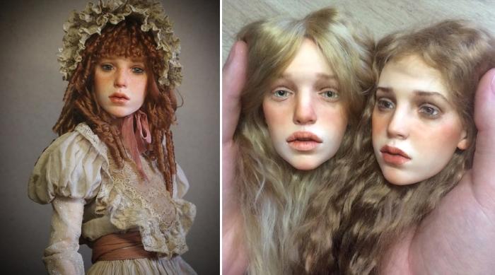 Волосы для кукол, сделанные из козьей шерсти