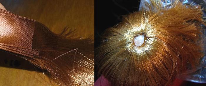 Волосы для куклы из атласных лент