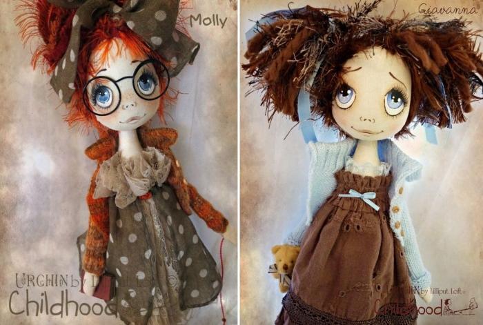 """Волосы для куклы, изготовленные из толстой пряжи и пряжи """"Травка"""""""