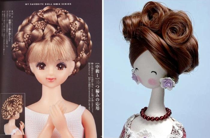 Прически из искусственных локонов для японских кукол и тряпиенсов