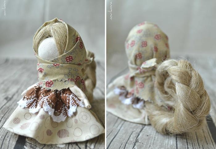 Куклы-обереги с волосами из льна