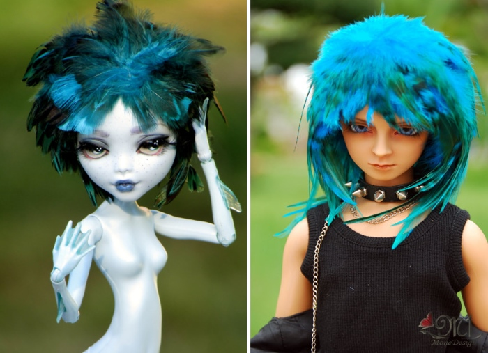 Куклы с прическами из перьев. Автор: MoneDesign