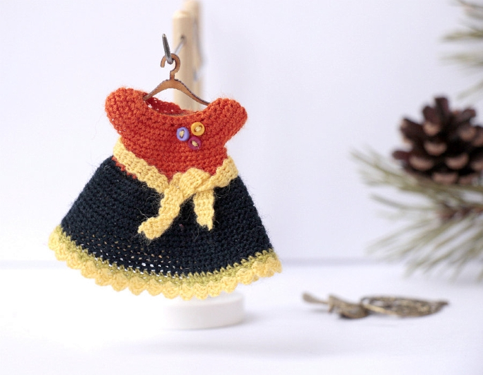 Dollhouse clothing - miniature crocheted orange dress
