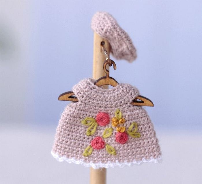 Miniature crochet dress for doll