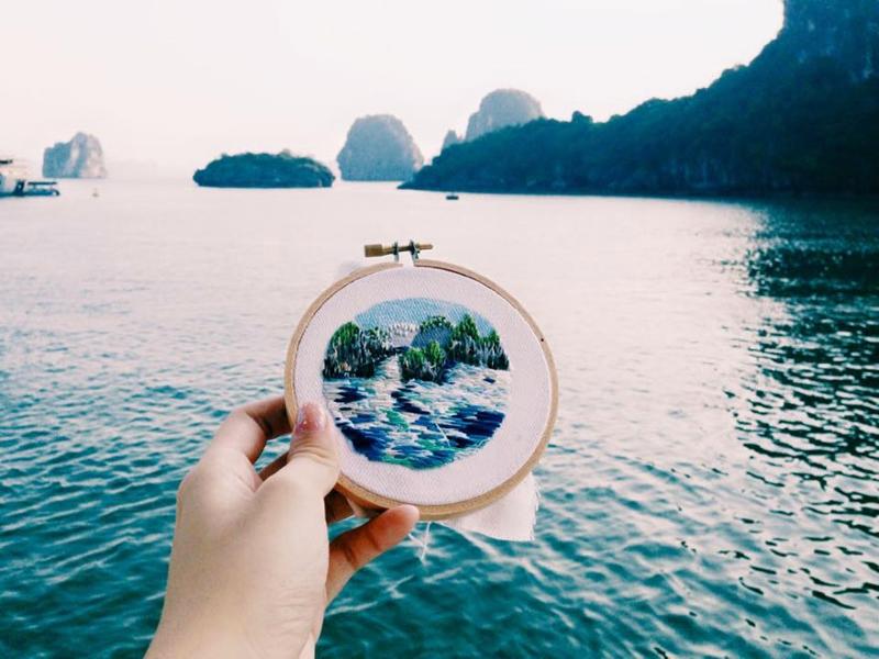 Тереза Лим вышивает виды мест, которые она посетила