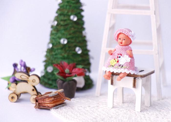 купить Комплект из шапочки и платья, вязаный крючком для newborn