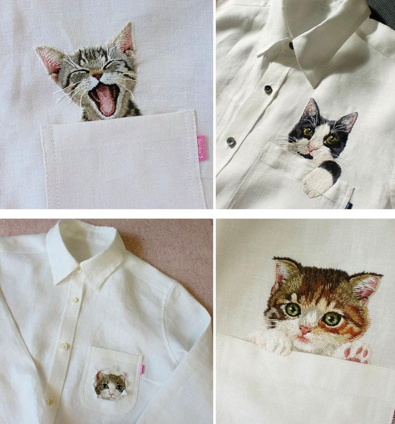 Вышитые котята от Хироко Кубота