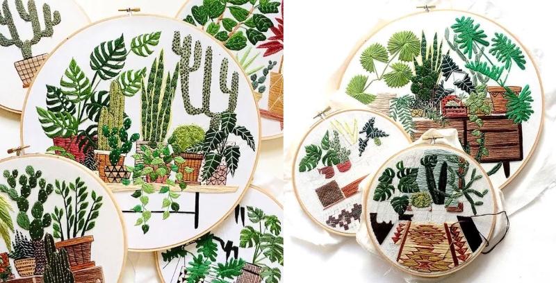 Вышивка комнатных растений гладью от Sarah K. Benning