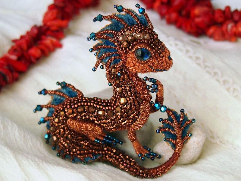 Миниатюрные драконы из бисера Алёны Литвин