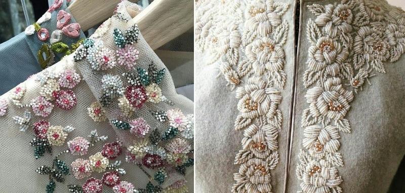 Вышивка бисером цветы на платье
