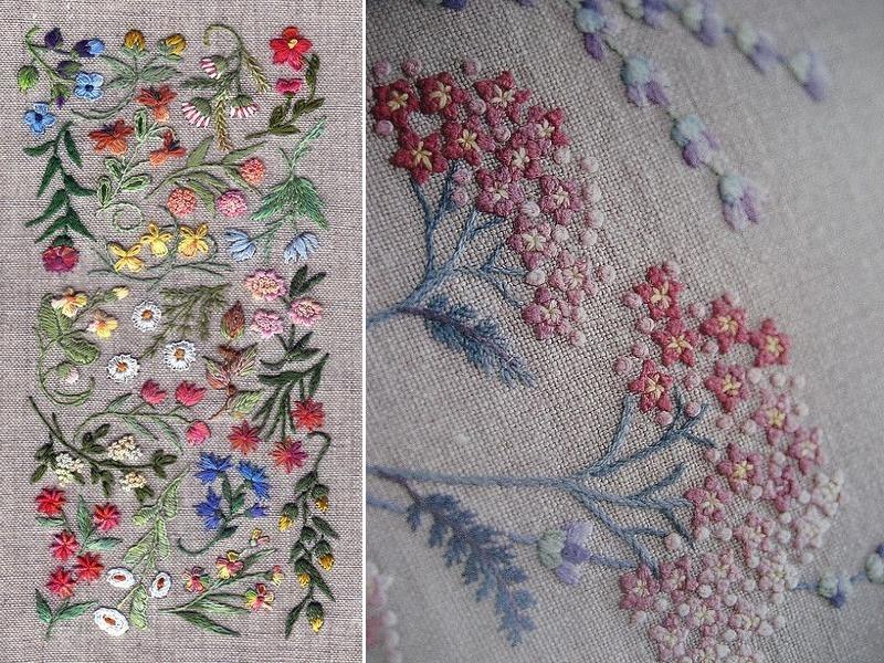 Вышивка на льне декоративными швами