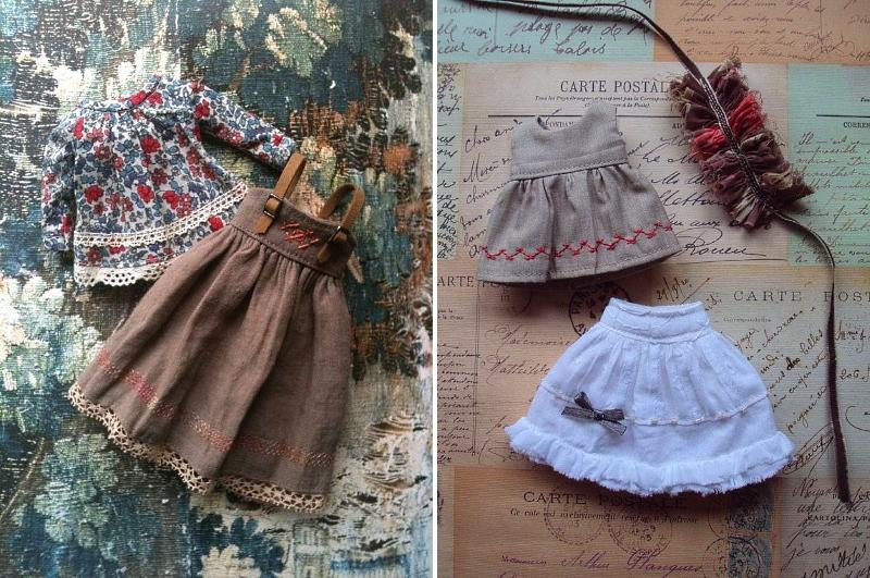 Одежда для кукол, украшенная вышивкой крестом