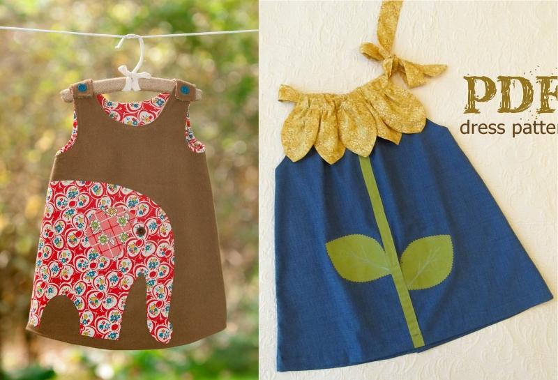 Детские платья, украшенные аппликацией