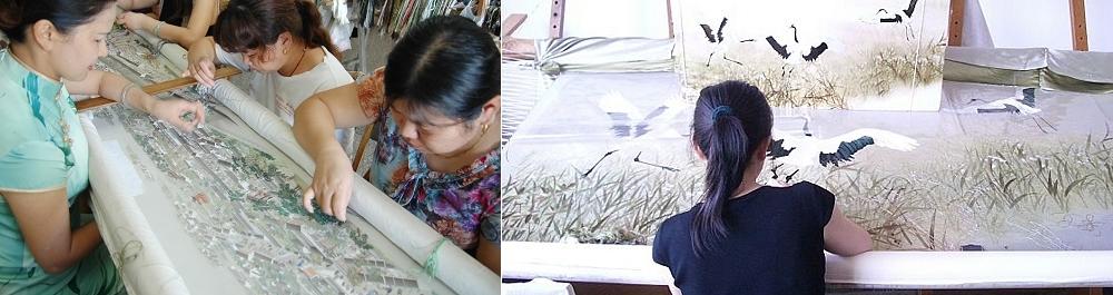 Вышивка шелковыми нитями по шелку, Китай, Сучжоу