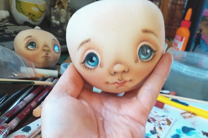 Роспись лица текстильной кукле